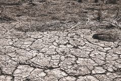 The ground cracks caused by drought caused by water shortages royalty free stock photo