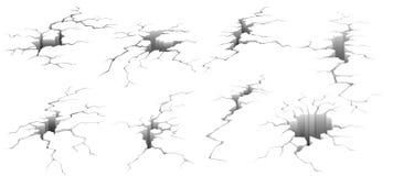 Ground cracks. Earthquake crack, hole effect and cracked surface isolated vector illustration set royalty free illustration