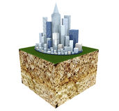 Ground Cross Section with Modern Business City Royalty Free Stock Photo