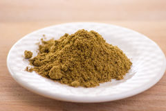 Ground Cumin. Herb  in white plate Royalty Free Stock Photos
