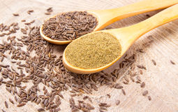 Ground cumin in a spoon and whole cumin. On the wooden background Stock Image