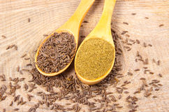 Ground cumin in a spoon and whole cumin. On the wooden background Royalty Free Stock Photo