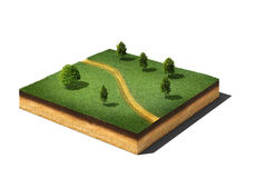 Ground cutaway with grass, trees and footpath  on white. 3d illustration of isometric cross section of ground cutaway with grass, trees and footpath  on white Royalty Free Stock Image