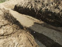 Ground excavation for building. House stock image