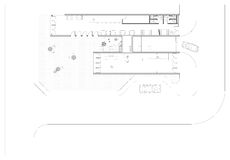 Ground Floor Plan. A ground floor plan of a youth hostel architectural design including public spaces, restaurant, lobby, shop, and garden Royalty Free Stock Images