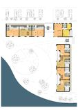 Ground floor plan of the living house or hotel. Drawing: ground floor plan of the multistory living house royalty free illustration