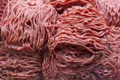 Ground fresh bison, beef, angus meat stock image
