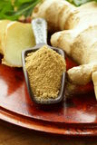 Ground and fresh ginger  oriental spice Royalty Free Stock Images