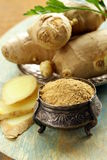 Ground and fresh ginger  oriental spice Royalty Free Stock Image