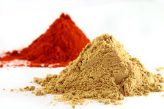 Ground ginger and paprika Stock Photos
