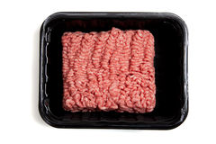 Ground hamburger meat on a white background Royalty Free Stock Photos