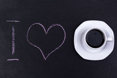Ground with i love text and cup of coffee Stock Images