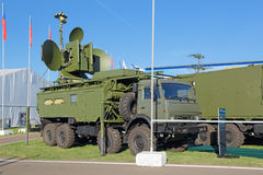 Ground jamming the radar of enemy. ZHUKOVSKY, MOSCOW REGION, RUSSIA - AUG 24, 2015: Ground jamming the radar of enemy air-based at the International Aviation and Royalty Free Stock Photos