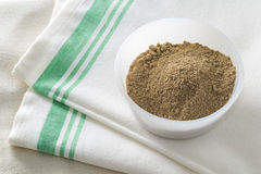 Ground Kava Kava Root in a White Bowl on Linen Stock Images