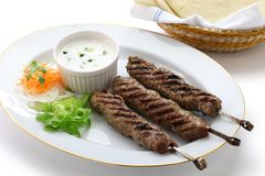 Ground lamb kebab Stock Images