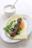 Ground lamb kebab sandwich Stock Images
