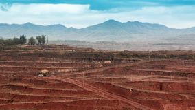 Ground layer of lignite mining and mining machinery. Many big tr royalty free stock photography