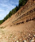 Ground layers 2. A high cliff with soil layers seen on the side stock photo