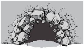Ground Level Hole Breaking Through Wide Wall. Vector cartoon clip art illustration of a ground level hole in a wide wall breaking or exploding out into rubble or stock illustration