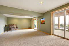 Ground level large new living room with green walls. Ground level basmenet large new living room with green walls Royalty Free Stock Photo