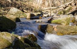 An Abstract view of Roaring Run Creek stock image