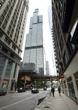 Ground level view of the Willis Tower. Chicago, Illinois, USA - 2019: A ground level view of the Willis Tower, a 110-story 1,450-foot 442.1 m skyscraper n the royalty free stock photo