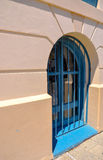 Ground Level Window: Blue Accent Colors Royalty Free Stock Photo
