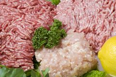 Ground meat. Close-up shot of minced meat with some vegetables Stock Image