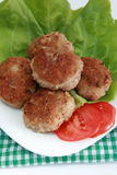 Ground meat fried in batter. Ground meat fried in  breadcrumbs. Fried cutlet, tomato and lettuce on a plate Stock Image