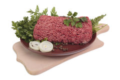 Ground meat with onion and parsley. Stock Photos