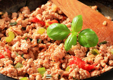 Ground meat stir fry Stock Image
