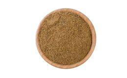 Ground or milled Caraway in wooden bowl isolated on white background. Spices and food ingredients stock image