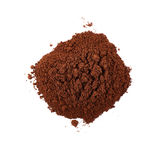 Ground milled coffee powder isolated over white background Stock Images
