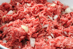 Ground mince meat with onions. Freshly ground minced meat with onions Royalty Free Stock Images