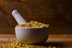 Ground mustard powder Royalty Free Stock Photography