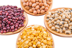 Ground Nut, Bean And Lentils VI. Ground nut, dal lentils, black eye bean and adzuki bean on wooden spoon Royalty Free Stock Photos