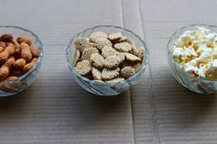 Ground nuts, pop corn and rewari. Are consumed during winter season in North India, especially while celebrating the festival of Lohri Royalty Free Stock Image