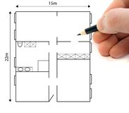 Ground plan. A hand drawing a ground plan to plan a building project Stock Photo