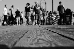Ground Position. People at the Santa Monica Pier Stock Photos