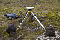 Ground positioning equipment. Monitoring for earthquake and volcanic activity over the Reykjanes Peninsula in southern Iceland Royalty Free Stock Photo