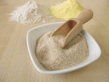 Ground psyllium seed husks, maize flour and buckwheat flour Royalty Free Stock Images