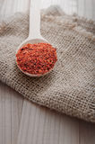 Ground red cayenne pepper. In wooden spoon, close up royalty free stock images
