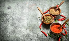 Ground red hot chili peppers in a bowl. On a rustic background Stock Photos