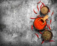 Ground red hot chili peppers in a bowl. On a rustic background Stock Photography