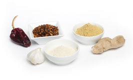 Ground red pepper, ginger and garlic Royalty Free Stock Photography