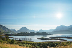 Ground road, Lofoten islands, Norway Royalty Free Stock Images