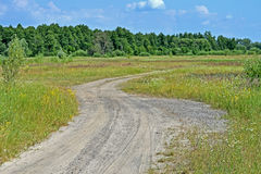 Ground road in the meadow, travel, blue sky with white clouds, Royalty Free Stock Photos