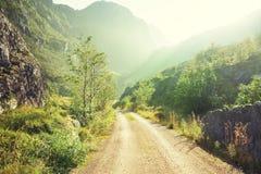 Ground road in mountain, Lofoten islands Stock Photography
