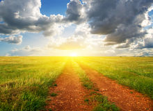 Ground road to sunset Royalty Free Stock Photos