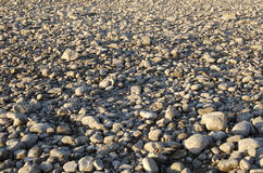 Ground with rocky pebbles. Dry riverbed with rocky pebbles in perspective stock photography